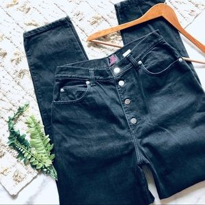Sasson Vintage Black Button Fly Mom Jeans (28)